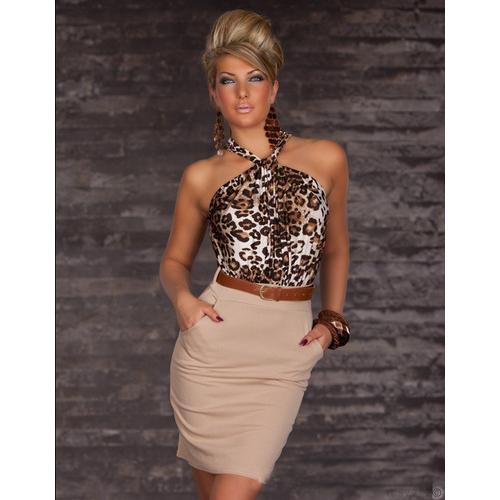 Leopard Dizzying Lavender Ruched Halterneck Cocktail Fashion Dress