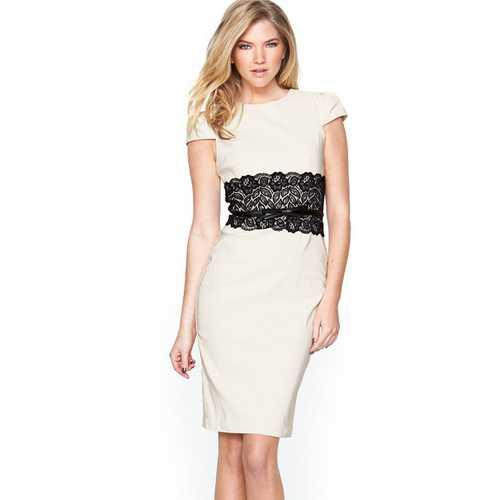 Ladies Midi Dress with Lace Peplum Dark White