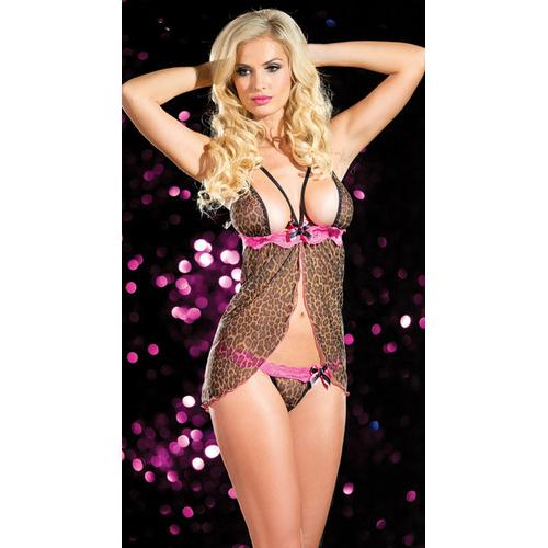 wholesale sexy leopard babydoll nighty