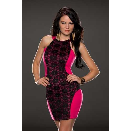 Charismatic Lace over Panelling Vintage Dress Rosy