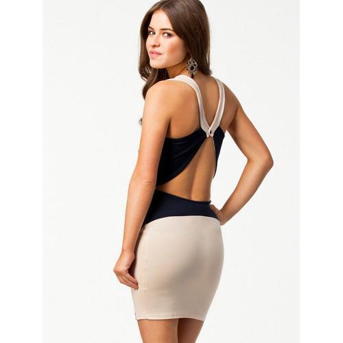Fashion Apricot Patched Sides Black Mini Dress