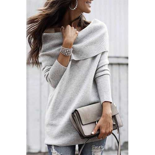 New Arrival Knitting  Solid Women Sexy Sweaters Gray