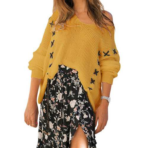 2018 Fashion V-neck Loose Long-sleeved Sweater Top Yellow