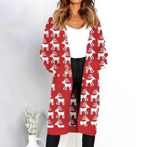 women long sleeve with pocket sweater Cardigan Deer print