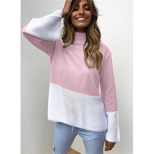 New Fashion Women Knitting Turtle Neck Sweaters Pink