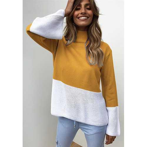 Knitting Turtle Neck Long Sleeve Sweaters Yellow