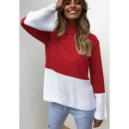 High Neck Long Sleeve Knitting Sweaters Red