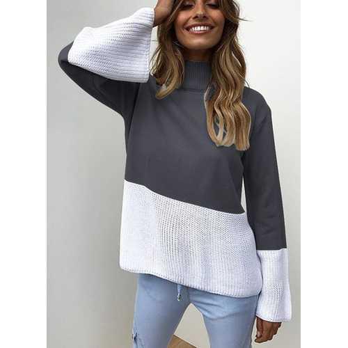 Fashion Women Knitting High Neck Sweaters Dark Blue