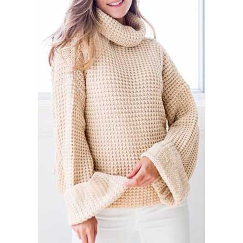 Loose Cozy Long Sleeves Turtleneck Sweater White