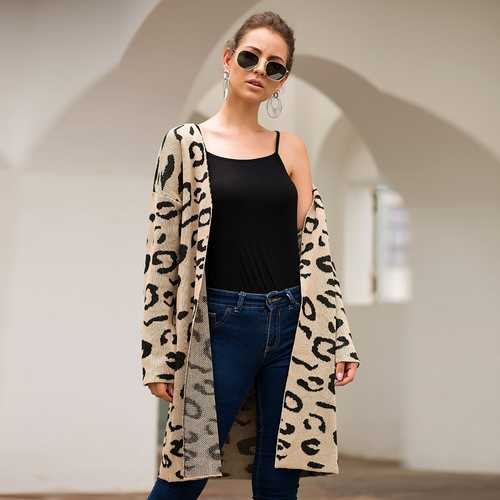 Women Khaki Leopard Print Long Cardigan