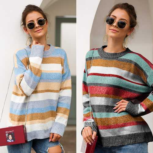 long-sleeved striped colored knitted  women's pullover
