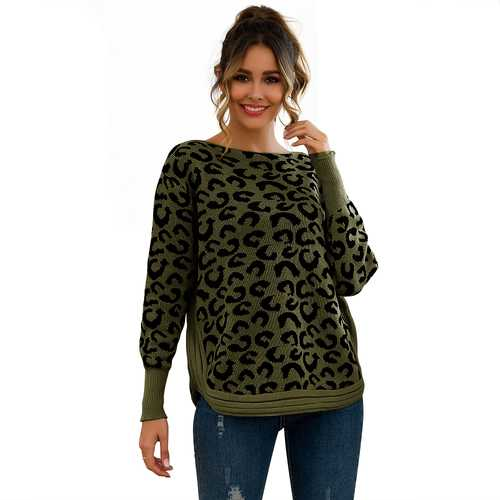 Women Leopard Print Patchwork Block Netted Texture Pullover Sweater