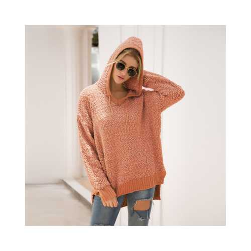 Ribbed V Neckline Popcorn Knit  Sweater Hooded Cardigans