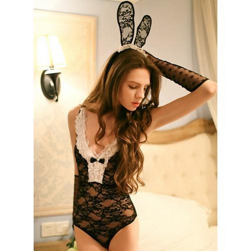 Sexy black lace bunny girl teddies