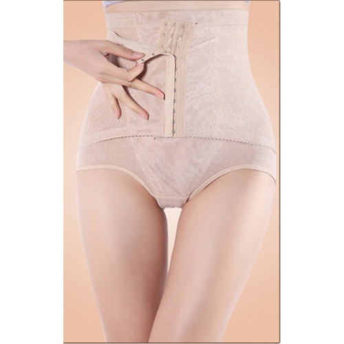 Plus Size Floral Lace High Waist Tummy Control Hip Looming Underwear Nude