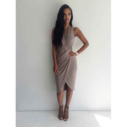 Fashion Women Sexy Deep V-neck Irregular  Sleeveless Bodycon Dress Dark Grey