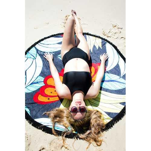 Stylish Designer Lotus Round Beach Towel