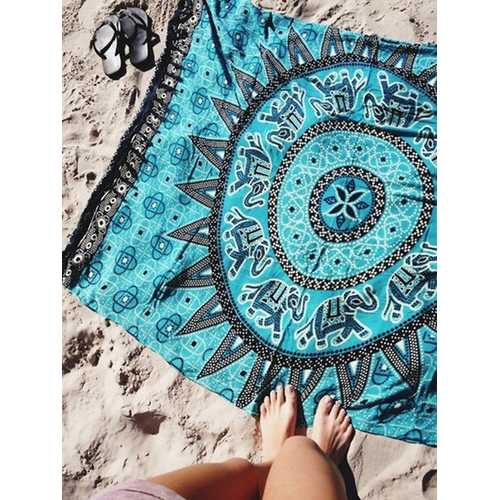 Blanket Throw Turkish Printed Beach Towel Blue