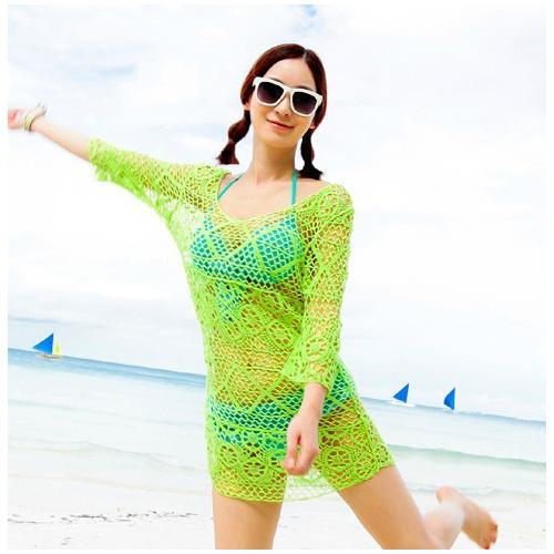 Green midi sleeves sexy summer beach dress