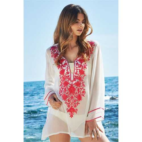 2017 Women's Embroidery Long Sleeve Pompom Beach Cover up Tunic Dress Red