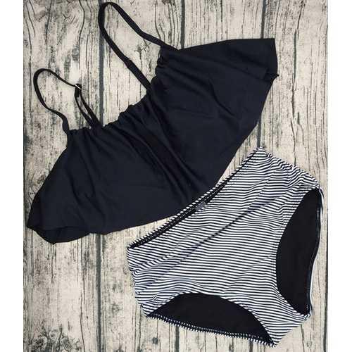 2017 Women Ruffle Cold Off Shoulder Print 2 Piece Swimsuit Bikini Set Black