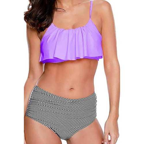 2017 Women Ruffle Cold Off Shoulder Print 2 Piece Swimsuit Bikini Set purple