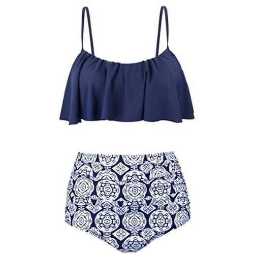 2017 Women Ruffle Cold Off Shoulder Print 2 Piece Swimsuit Bikini Set