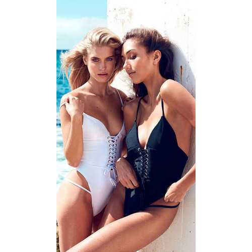 White V-neck Snap Button Front One Piece Swimsuit with Removable BRA