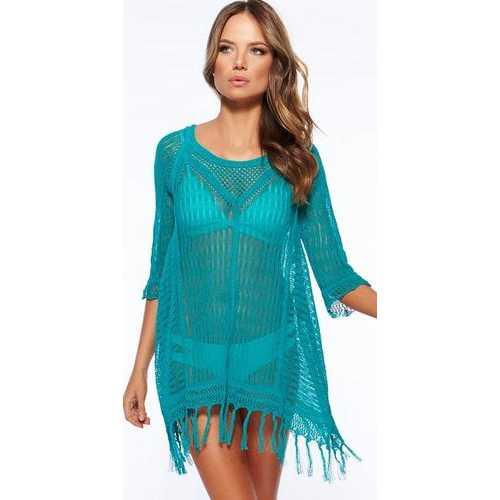 Latest Long Sleeve Swimwear Beachwear Cover Up Blue