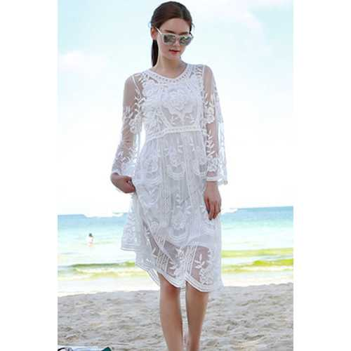 White Lace Translucent Embroider Elegant Dress