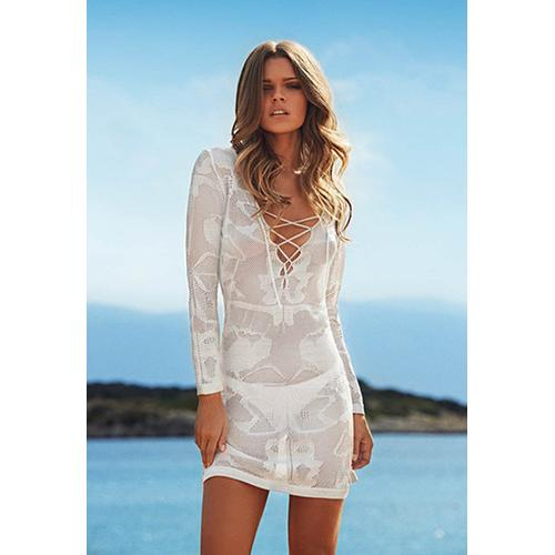 Sexy Women Long Sleeve Strapy V-Neck Embroider Beach Dress White