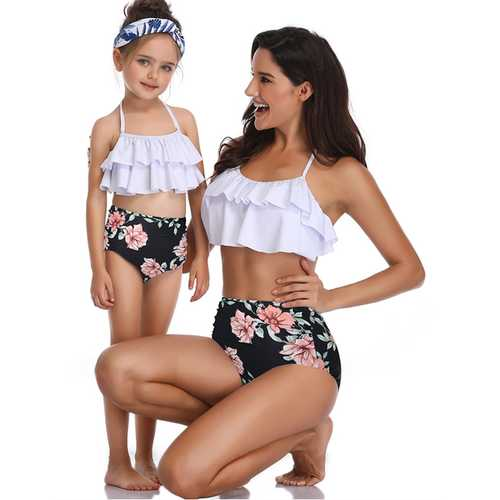 Girls Swimsuit Two Piece Bikini Set Mother and Daughter Swimwear Flowers Print Bathing Suit