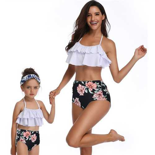 Girls Swimwear Flower Print Mommy and Me Bikini Set Girls Swimsuit