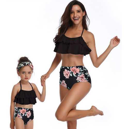 Black Flower Print Girl Swimwear Bikini Set Mommy and Me Swimsuit