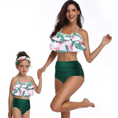 Girl Bathing Suit Lotus Leaf Edge Green Bikini Set Family Matching Swimwear