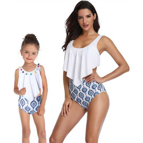 Girl Swimsuit Two Pieces Lotus Leaf Edge Bikini Set Whorl 3D Family Matching Swimwear