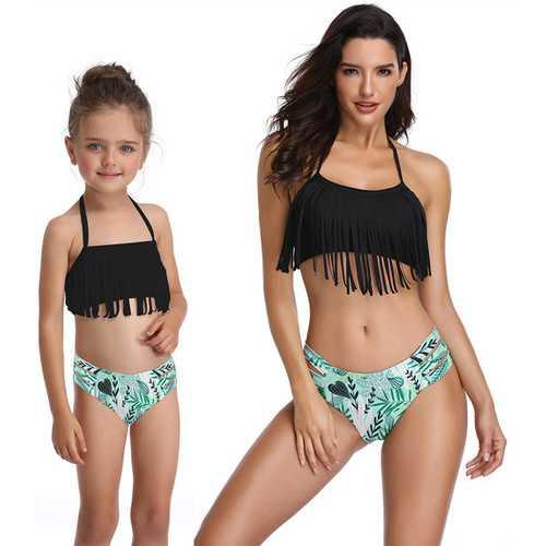 Black Fringed Girl Swimsuit Bikini Set Family Matching Bathing Suit
