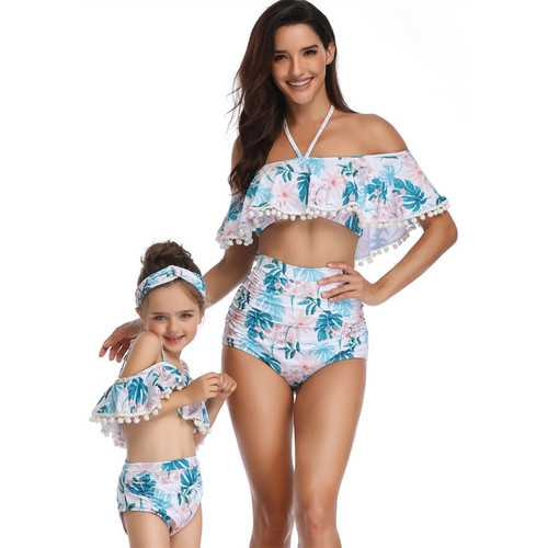 Flower Print One-shouder White Swimsuit Family Matching Girls Bikini Set Swimwear