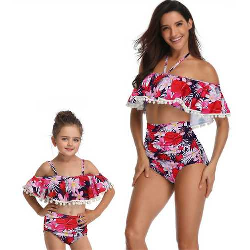 Flower Print One-shoulder Girl Swimsuit Bikini Set Family Matching Swimwear