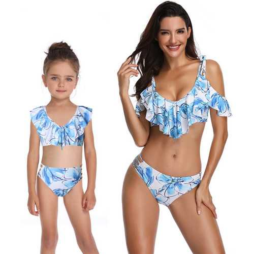Blue Printed Girl Swimsuit Low-neck Bikini Set Family Matching Swimwear