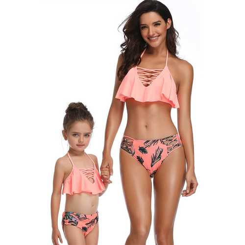 Braided Rope Pink Girl Bikini Set Family Matching Bathing Suit