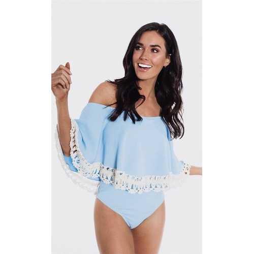 Light Blue Sext Off-Shoulder One- piece Swimsuit