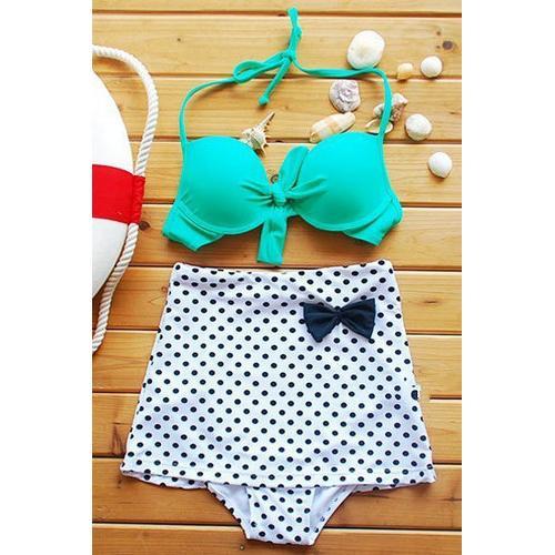 Turquoise Top Polka Dot High-waisted Bikini Swimwear