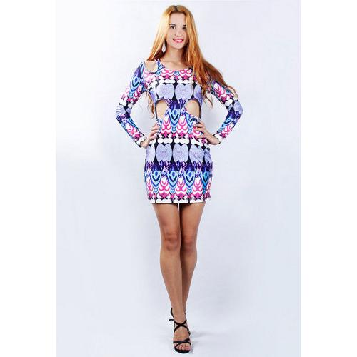 Fashion Long Sleeve Cut Out Waist Holes Club Mini Digital Print Dress Purple Blue