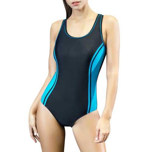 Women's Halterneck Tankini Strap Splice One-Piece Athletic Swimwear