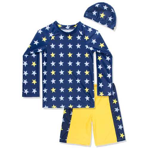 Kids Boy 3 Pieces Swimsuit Set with Swimming Cap, Star pattern