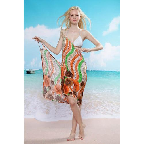 Wave Flower Beach Cover-up Orange and Green