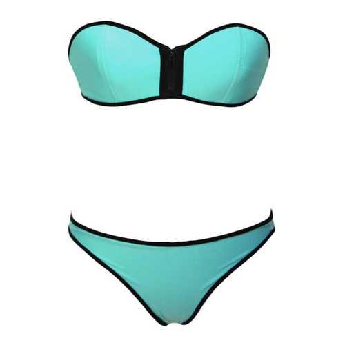 Green Strapless Top Low Rise Bottom Bikini