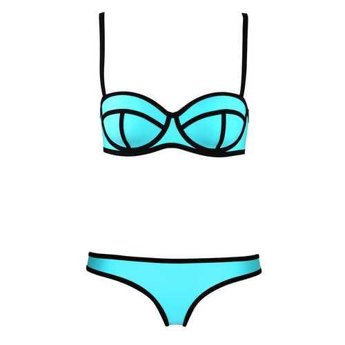 Blue Ribbon Textured Bikini Swimsuit