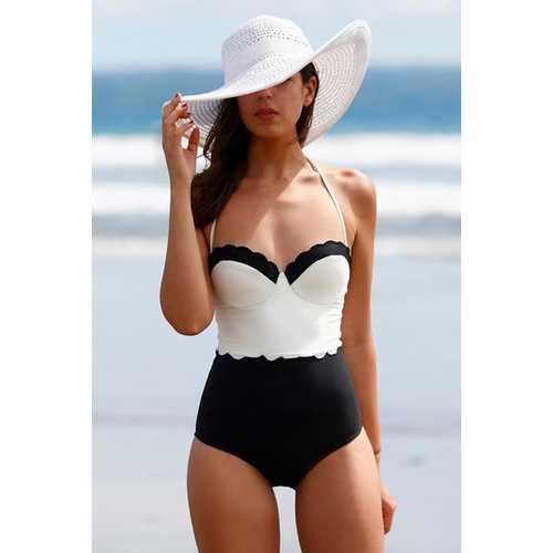 Sexy Patchwork White Top One Piece Swimwear Black